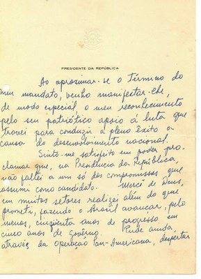 Carta escrita por Jucelino Kubitschek - folha 1