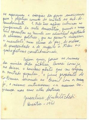 Carta escrita por Jucelino Kubitischek - folha 2