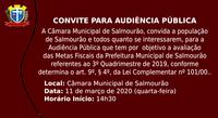 Câmara convida população para Audiência Pública
