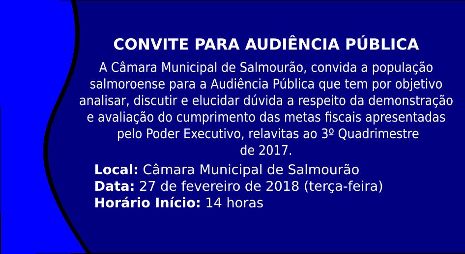 Câmara realizará Audiência Pública